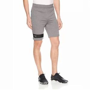 Under Armour Mens Gray Fitted Sweat Shorts Large